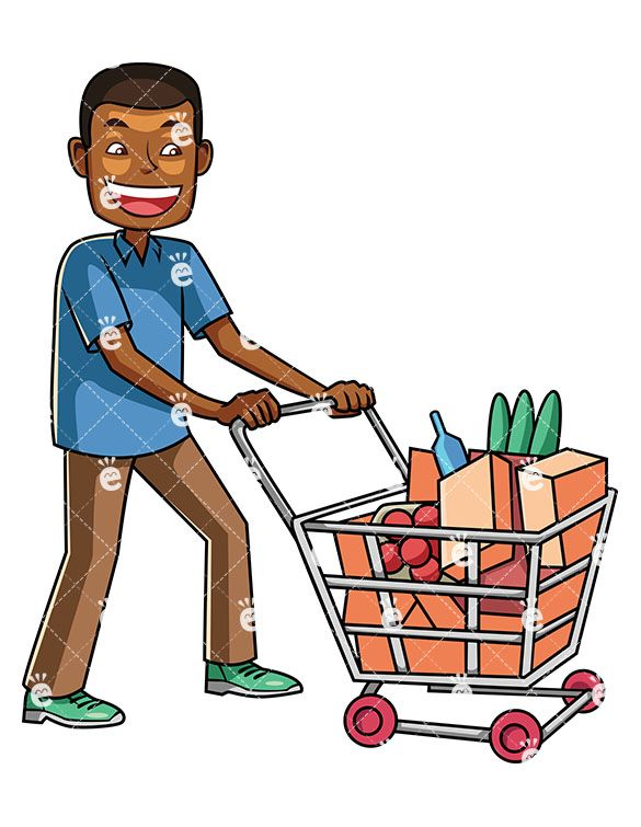 A black man shopping. Buy clipart going to store