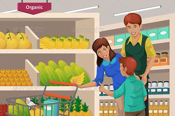 Buy clipart grocery shopping. Family fruits in a