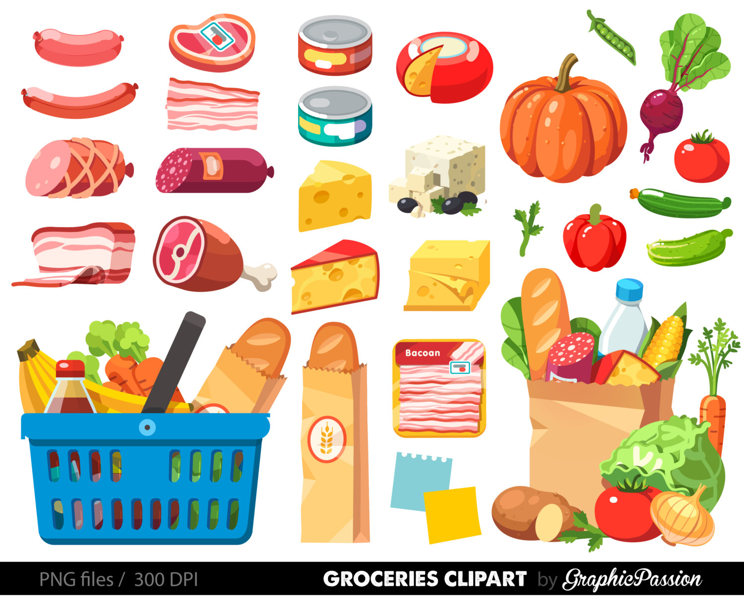 Buy clipart grocery shopping. Food dinner