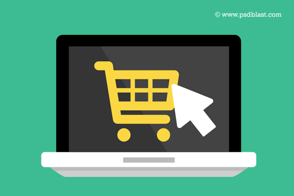 Flat online icon psd. Buy clipart retail