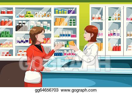 Buy clipart retail. Vector stock buying medicine