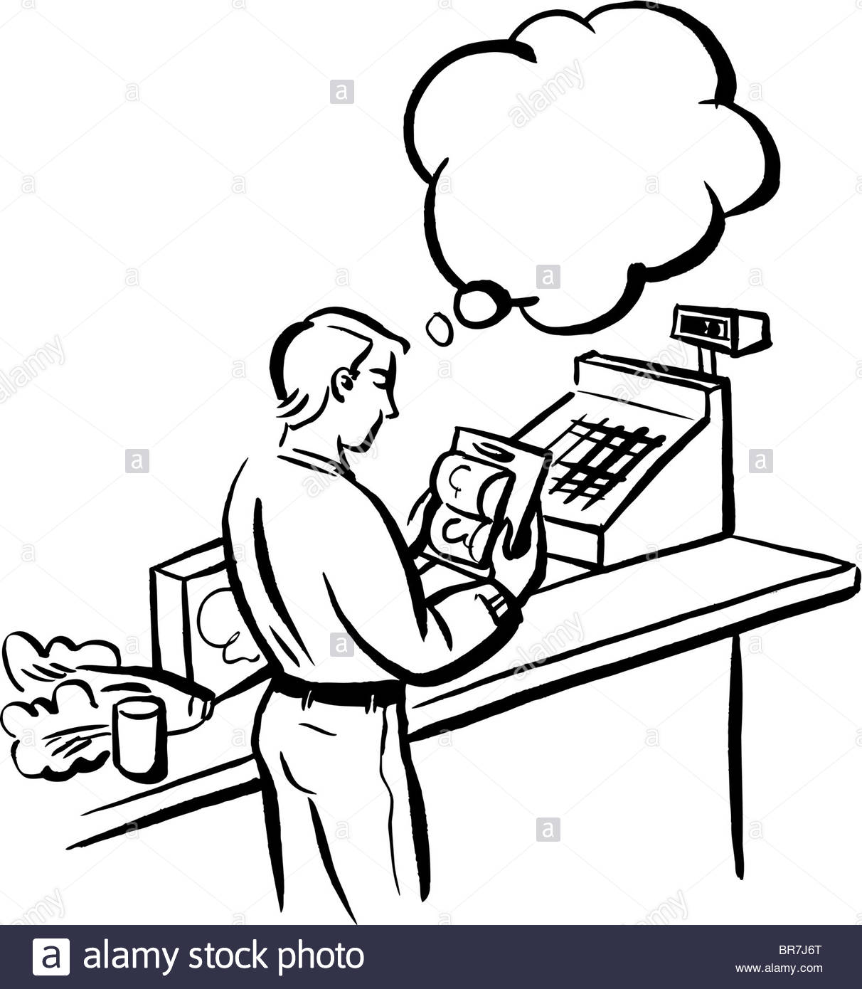 Drawing at getdrawings com. Cashier clipart black and white