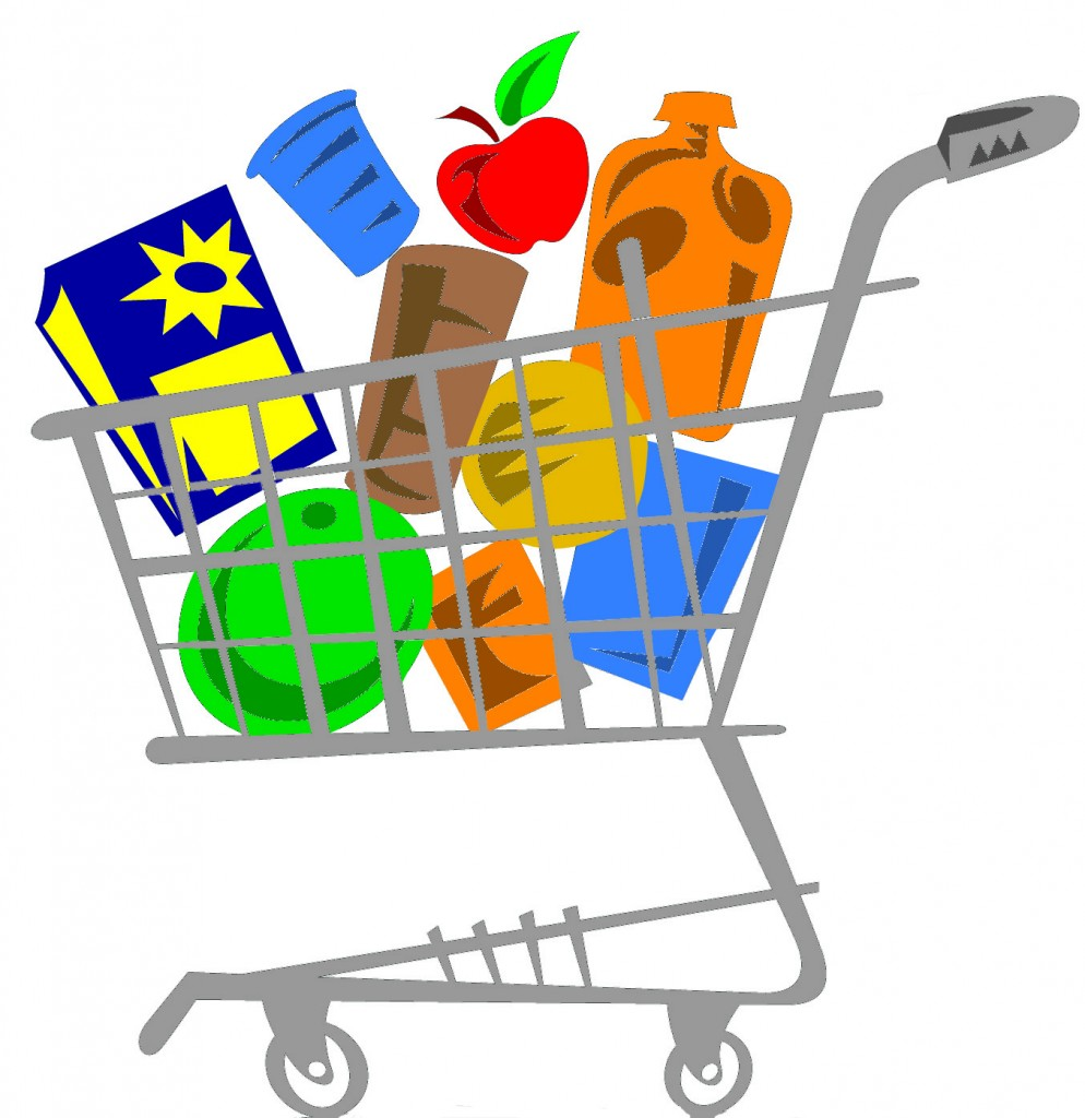 International student trip grocerycart. Cashier clipart grocery shopping