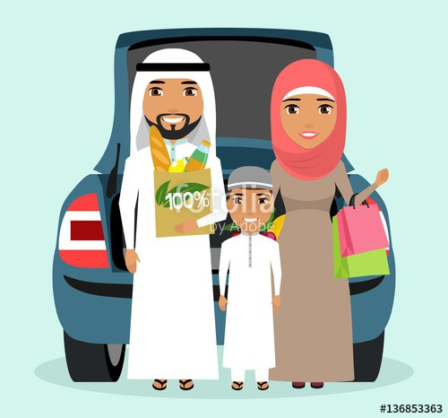 Young arab family made. Buy clipart shopping trip