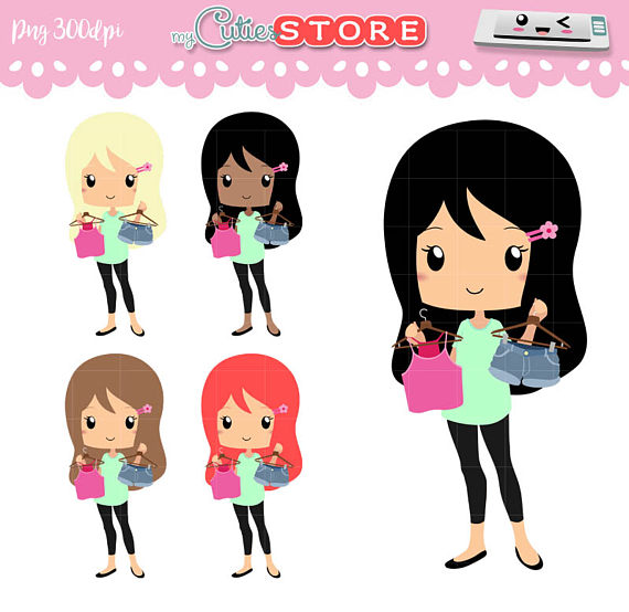 Chibi outfit plan and. Buy clipart shopping trip