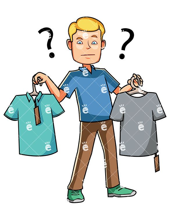 Buy clipart shopping trip. A man choosing between