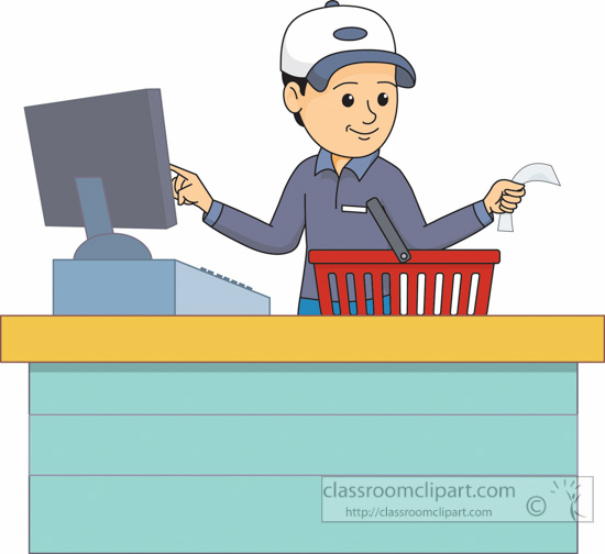 At check out man. Cashier clipart grocery cashier