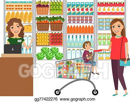 Cashier clipart happy. Vector art woman shopping