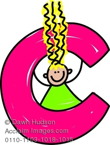 Image of a happy. C clipart letter