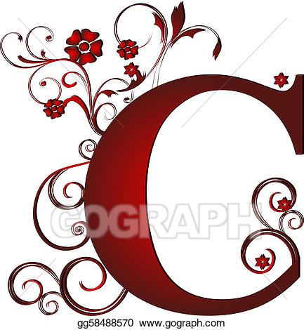 C clipart red. Stock illustrations capital letter