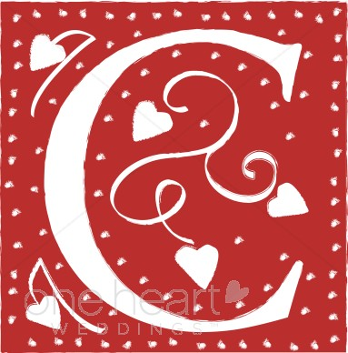 C clipart red. Letter wedding heart font