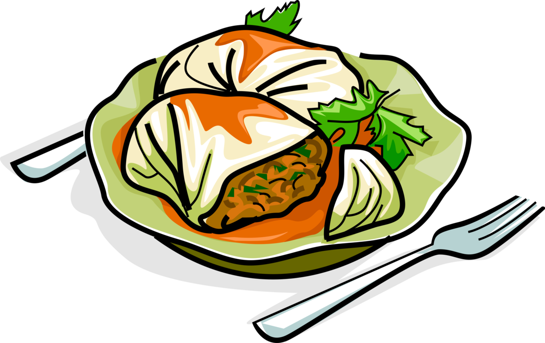 Stuffed rolls with minced. Cabbage clipart cabbage roll