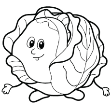 Top free printable vegetables. Cabbage clipart coloring