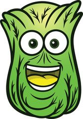 Cartoon smiling tomato cheerful. Cabbage clipart face