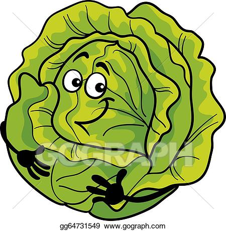 Vector illustration cute vegetable. Cabbage clipart head lettuce