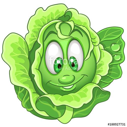 Cartoon character iceberg lettuce. Cabbage clipart leafy vegetable