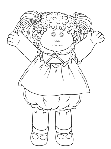 Patch doll coloring page. Cabbage clipart printable