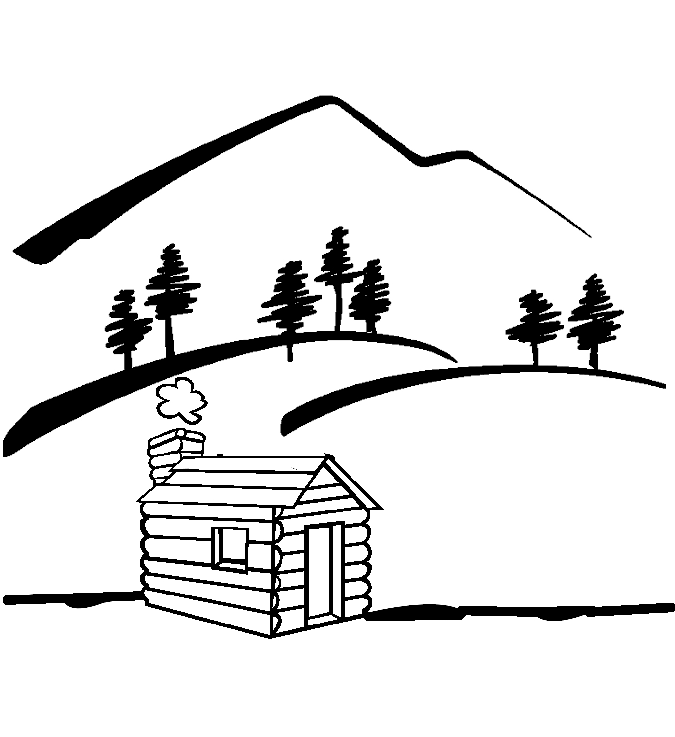 Cabin black and white. Lake clipart woods