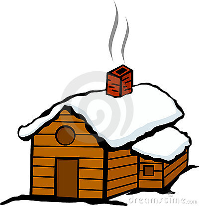 Cottage clipart snowy cabin.