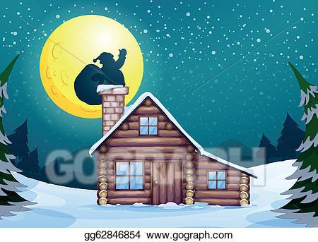 Vector art eps gg. Winter clipart cabin