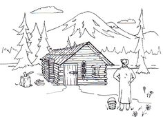 Log panda free images. Cabin clipart coloring page