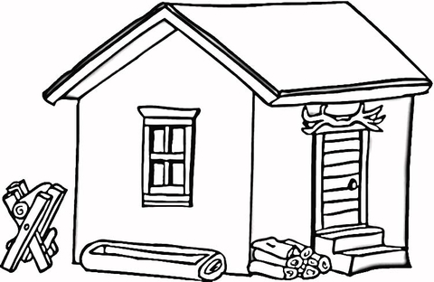Cabin clipart coloring page. Log in wood free
