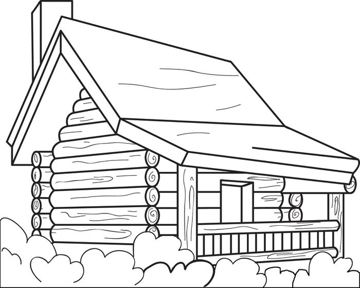 Cabin clipart coloring page. Log pages bonnieleepanda com