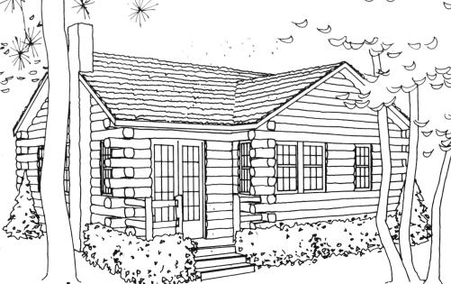 Top pages free . Cabin clipart coloring page