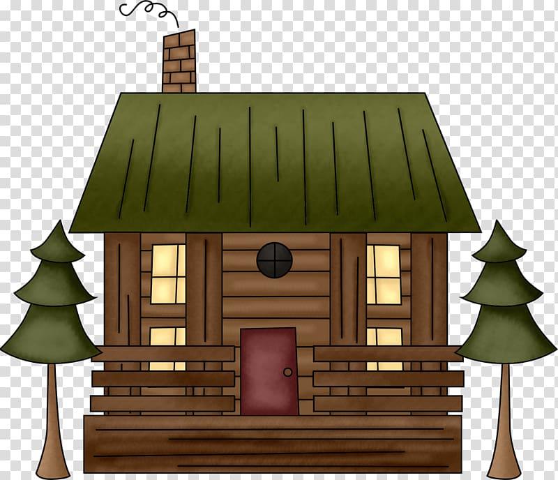 Log cabin cartoon drawing. Cottage clipart hut