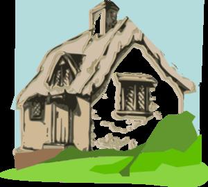Cottage clip art at. Cabin clipart hut