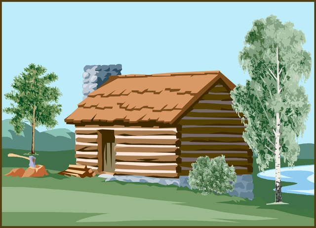 Log cliparts and others. Cabin clipart lake cabin