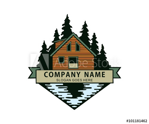 In the woods river. Lake clipart lake cabin