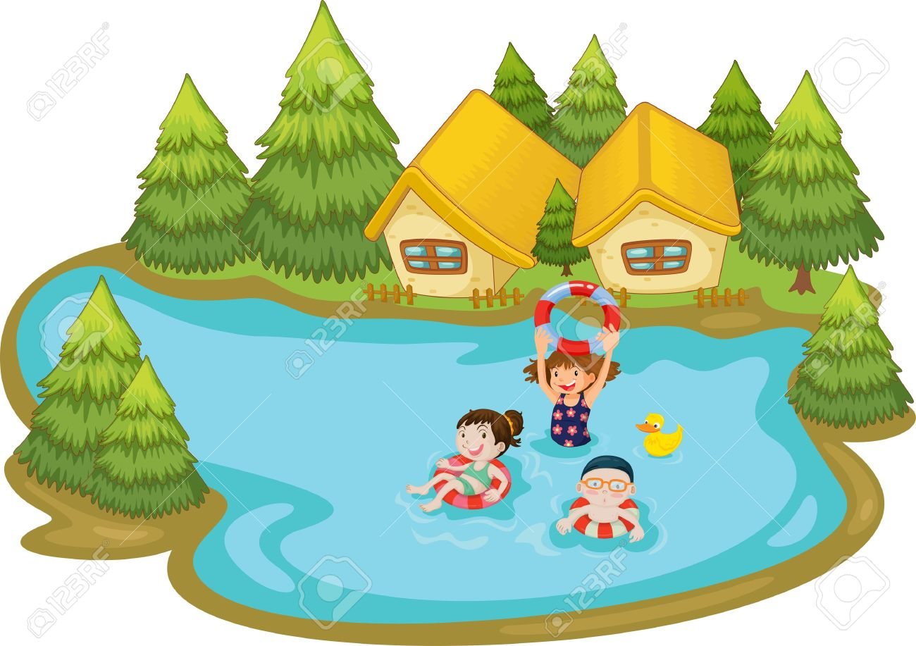 collection of cottage. Lake clipart lake swimming