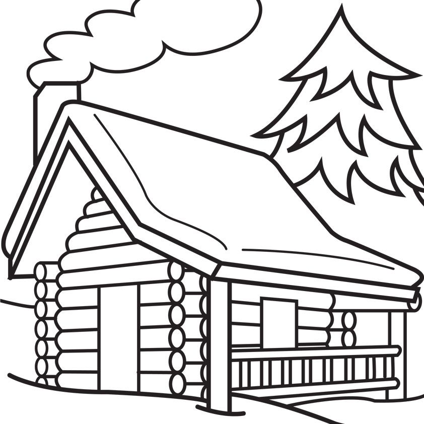 Coloring pages . Cabin clipart log home