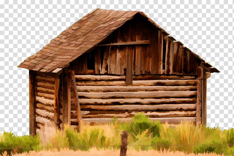 Cutout old building brown. Cabin clipart log house