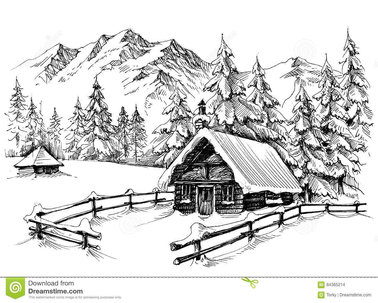 Cabin clipart mountain cabin. Download winter drawing stock