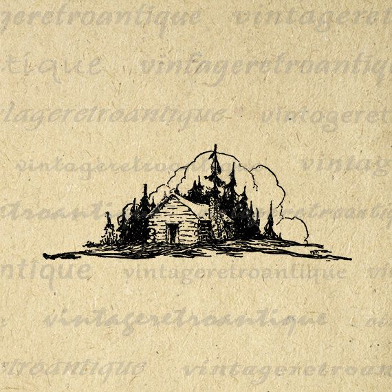 Cabin clipart mountain cabin. Log graphic digital download