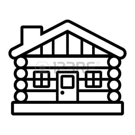 Pencil and in color. Cabin clipart outline