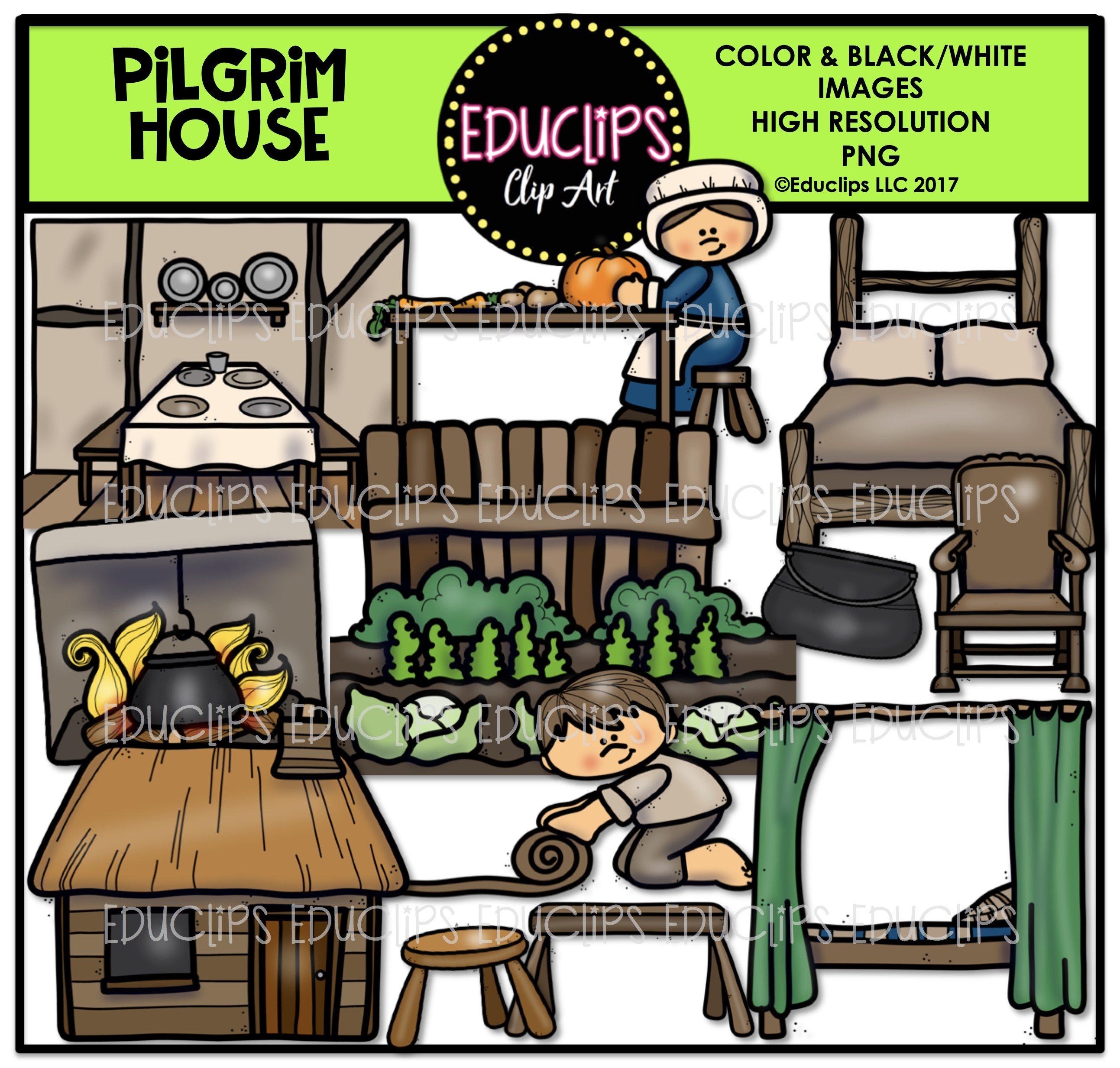 Thanksgiving clip art big. Cabin clipart pilgrim house