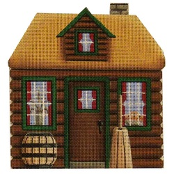 Hand painted needlepoint rebecca. Cabin clipart pilgrim house
