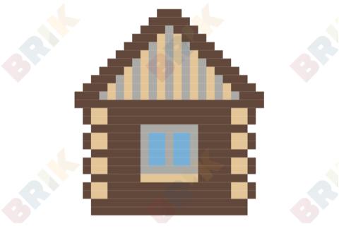 Log day brik. Cabin clipart pixel art