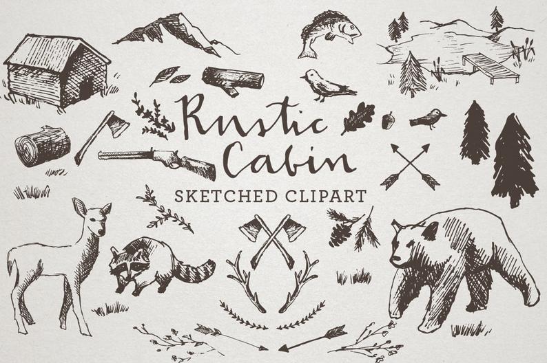 Cabin clipart rustic cabin. Sketched clip art crosshatch