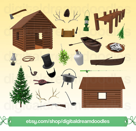 Nature clip art woodland. Cabin clipart rustic cabin
