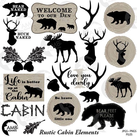 Cilpart classy inspiration antlers. Cabin clipart rustic cabin