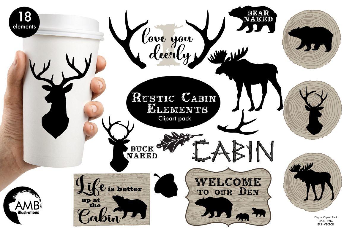 Cabin clipart rustic cabin. Elements graphic illustra design