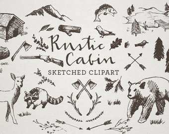 Cabin clipart rustic cabin. Art etsy sketched clip
