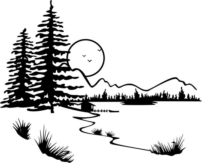 Lake clip art displaying. Boulder clipart black and white