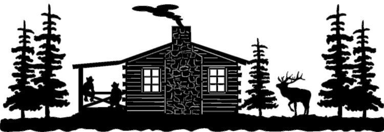 Cabin scene with elk. Cottage clipart silhouette