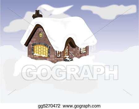 Cabin clipart snowy cabin. Stock illustration snow gg
