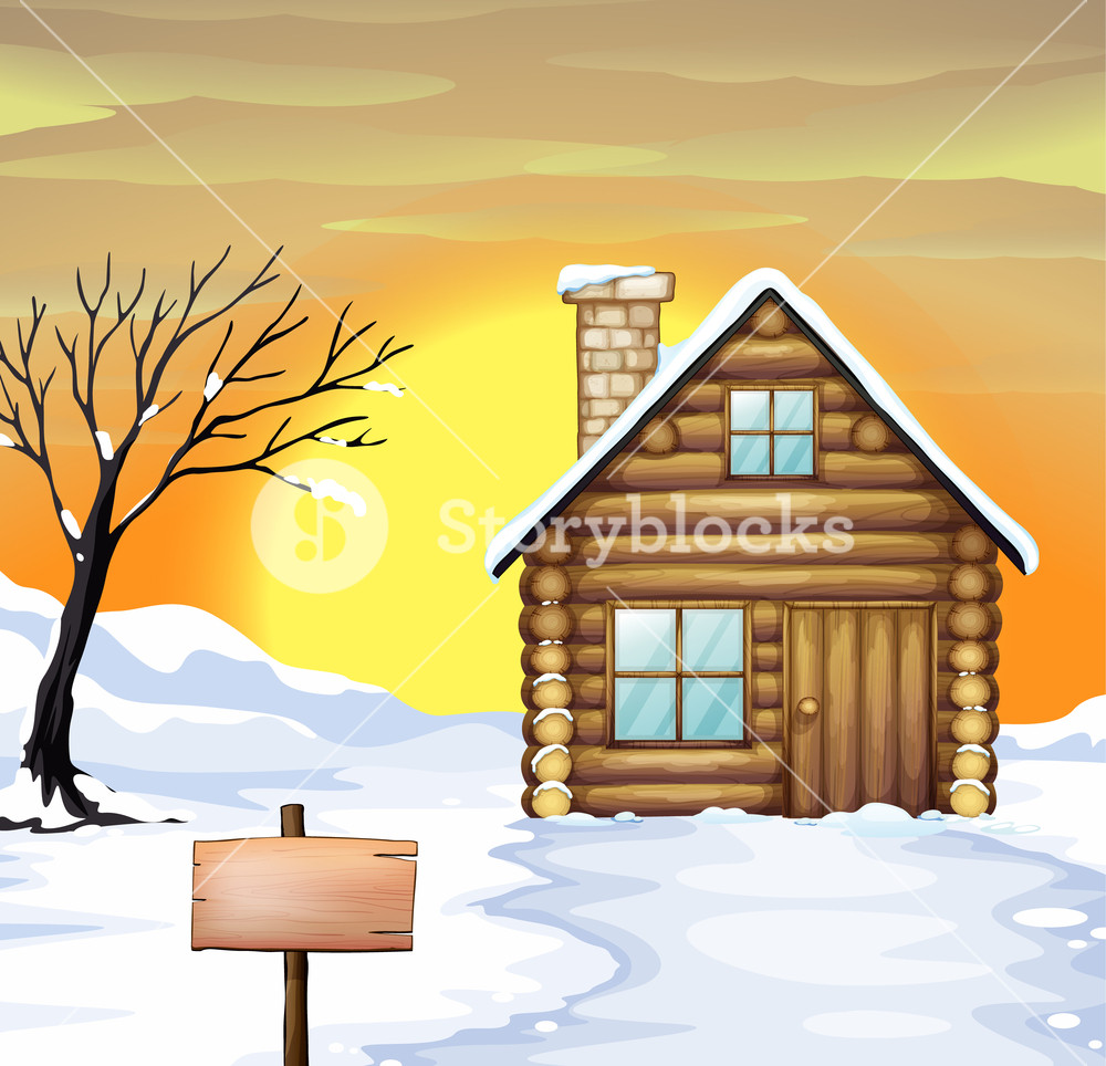 Illustration of a log. Cabin clipart snowy cabin